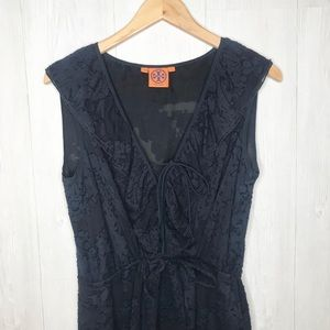 [Tory Burch] Navy Sleeveless Silk Tie Front Dress